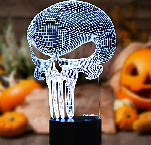 3D Punisher Skull Lighting by Playtime 123 is a Great Nightlight with a Soft Glow for Kids. These Lights Make Beautiful Gifts and Amazing Desk Lamps for Dad. Start enjoying your own 3d Light Today!