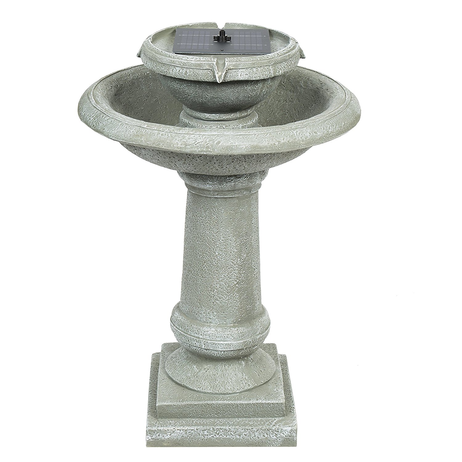 Best Choice Products Solar Power 2 Tier Weathered Stone Bird Bath Fountain Gray
