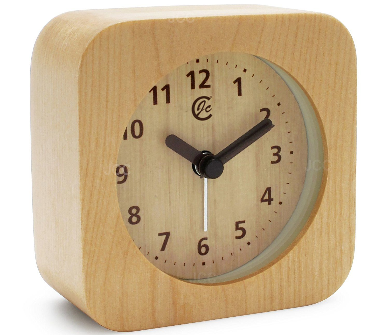 JCC Arabic Numerals Square Nature Wood Non Ticking Sweep Analog Quartz Bedside Desk Alarm Clock with Ascending Louder Alarm, Snooze and Night Light Feature, Battery Operated (Light Wood)