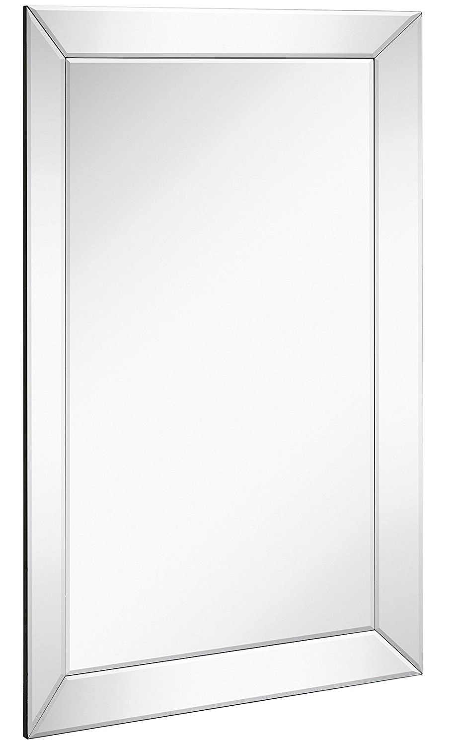 "Large Framed Wall Mirror with Angled Beveled Mirror Frame | Premium Silver Backed Glass Panel Vanity, Bedroom, or Bathroom | Luxury Mirrored Rectangle Hangs Horizontal or Vertical (24"" x 36"")"