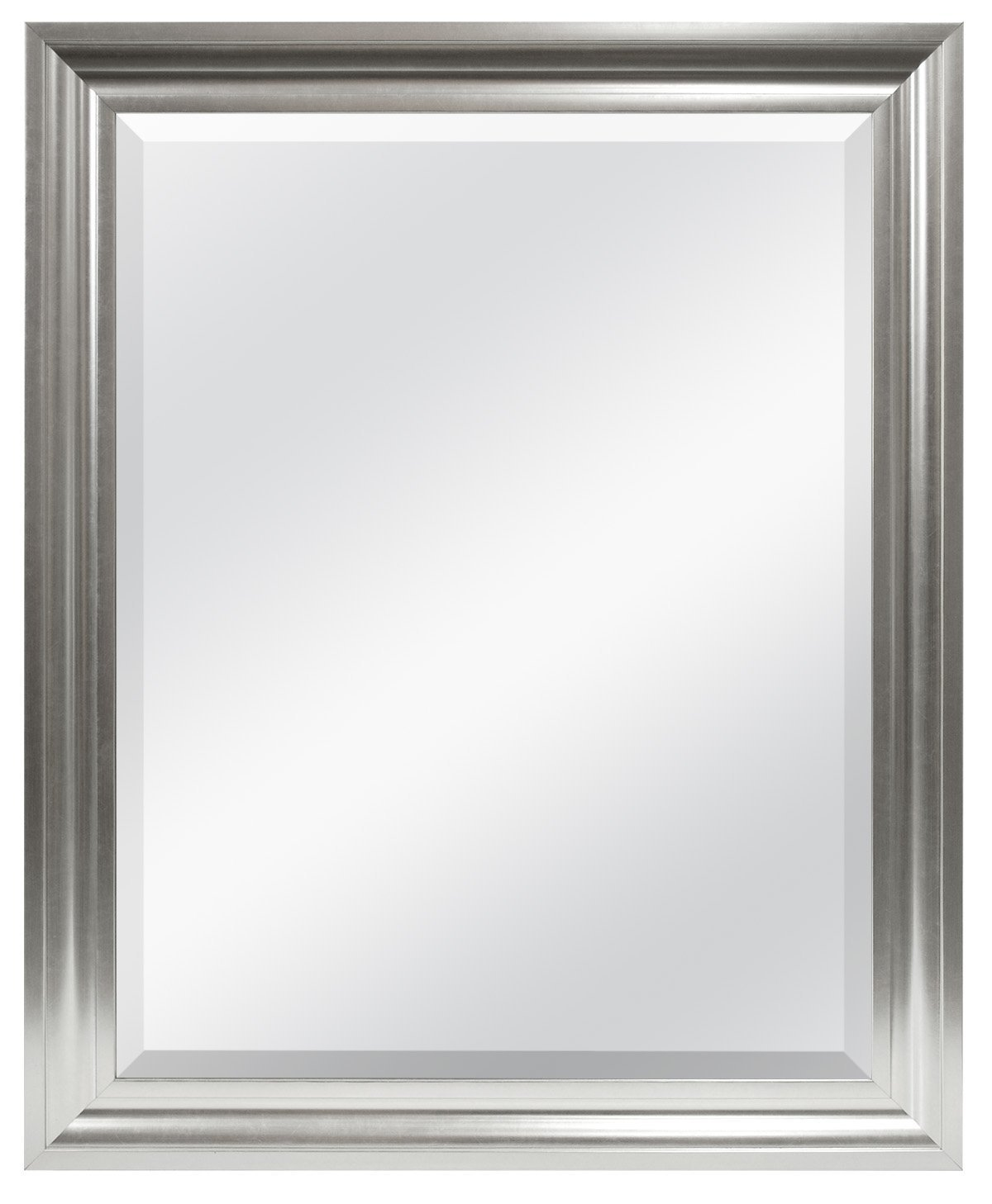MCS 20675 21.75 by 27.5-Inch Beveled Mirror with 26.5 by 32.5-Inch Frame, Satin Silver