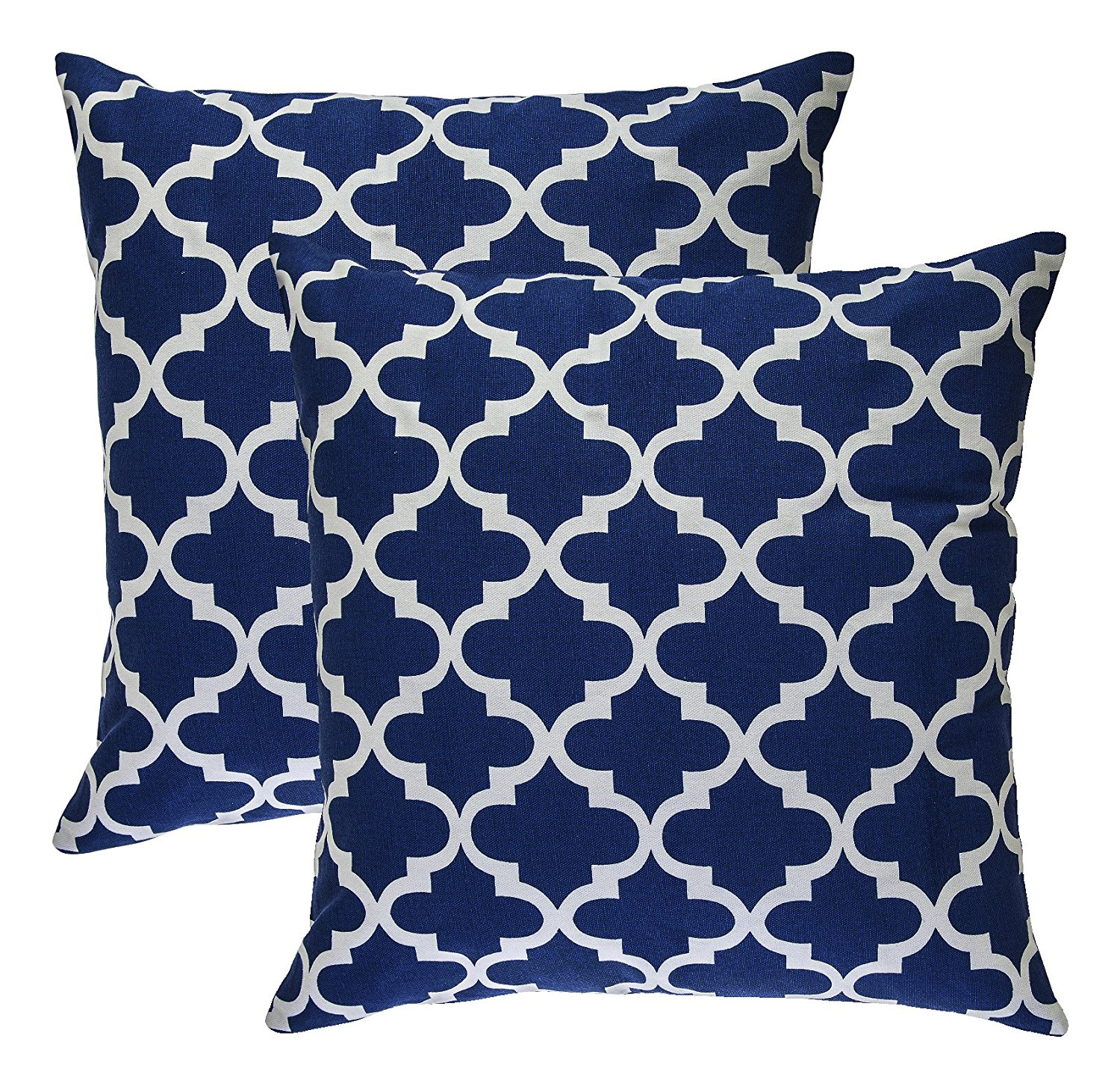TreeWool, Cotton Canvas Trellis Accent Decorative Throw Pillowcases (2 Cushion Covers; 18 x 18 Inches; Navy Blue & White)