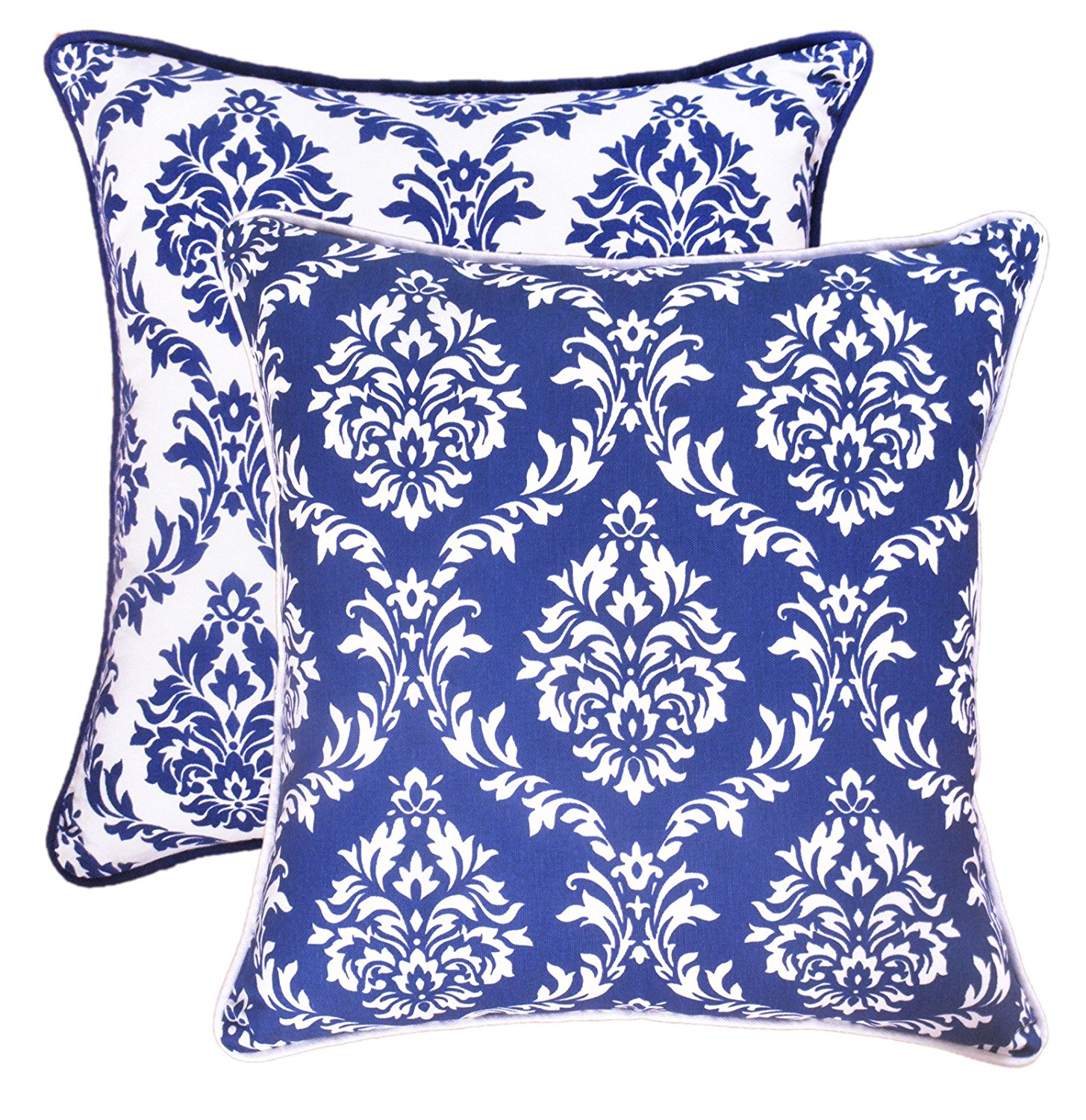 Urban Style Decor, Throw Pillow Cover (Set of 2) Cotton Printed Damask Design Decorative Cushion Covers ( 2 Pillowcases; 18 x 18 inches ; Navy & White)