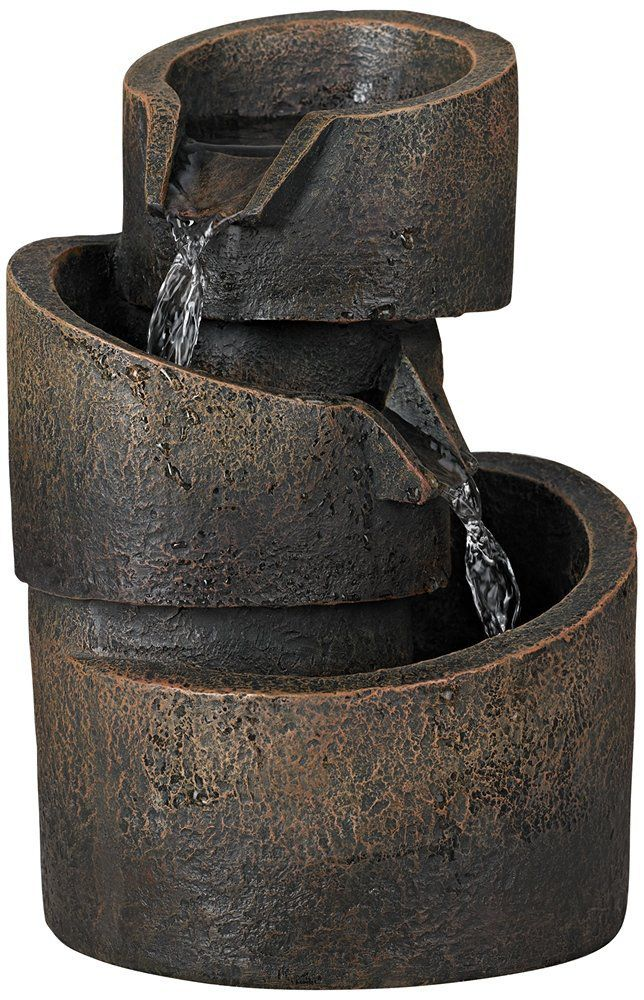 3-Tier Bronze Stone Contemporary Tabletop Fountain
