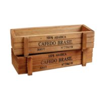 Amgate 2 PCS Rustic Rectangular Wooden Planter Plant Container Box
