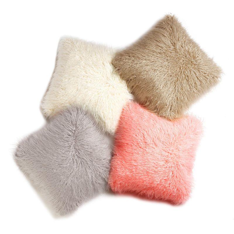 Best Home Fashion Grey Mongolian Lamb Faux Fur Pillow Cover- 24