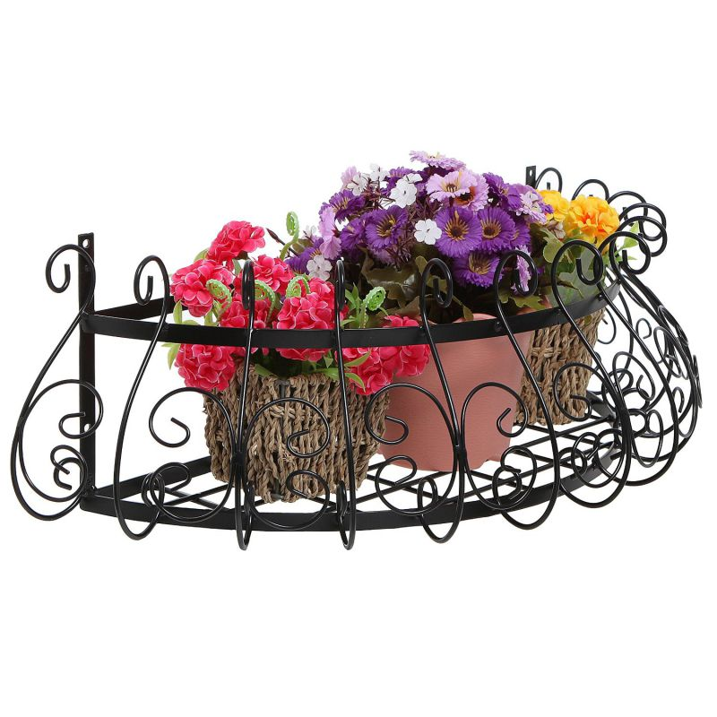 Black Metal Scrollwork Design Wall Mounted Flower Plant Shelf Display / Decorative Window Boxes Planters by MyGift