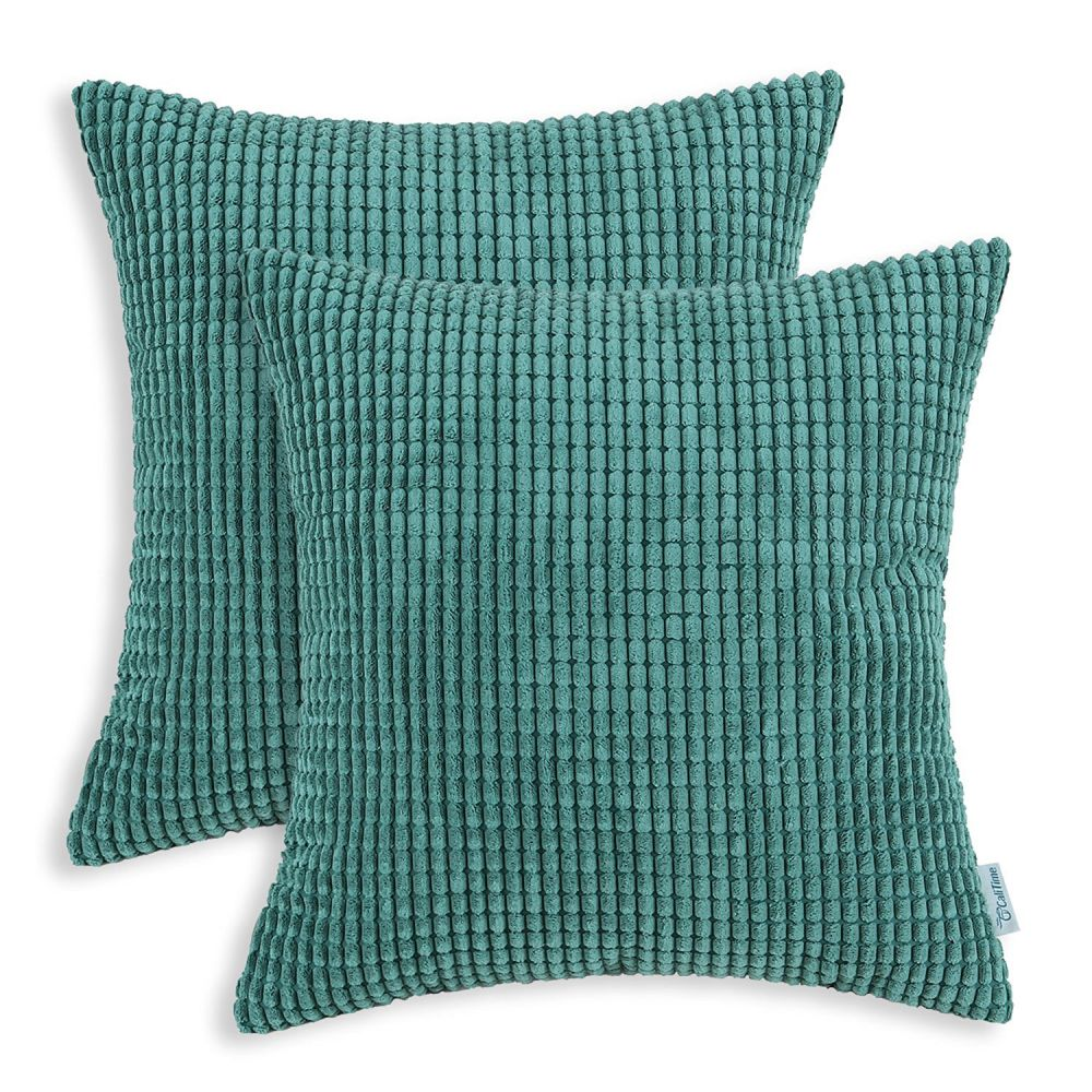 CaliTime Throw Pillow Covers 18 X 18 Inches, Comfortable Soft Corduroy Corn Striped, Teal, Pack of 2