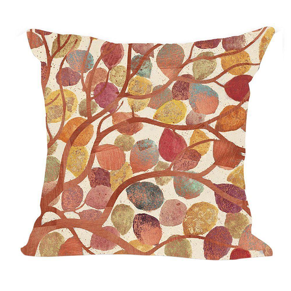 ChezMax Linen Blend Colorful Tree Pattern Cushion Cotton Square Decorative Throw Pillow 18 X 18''