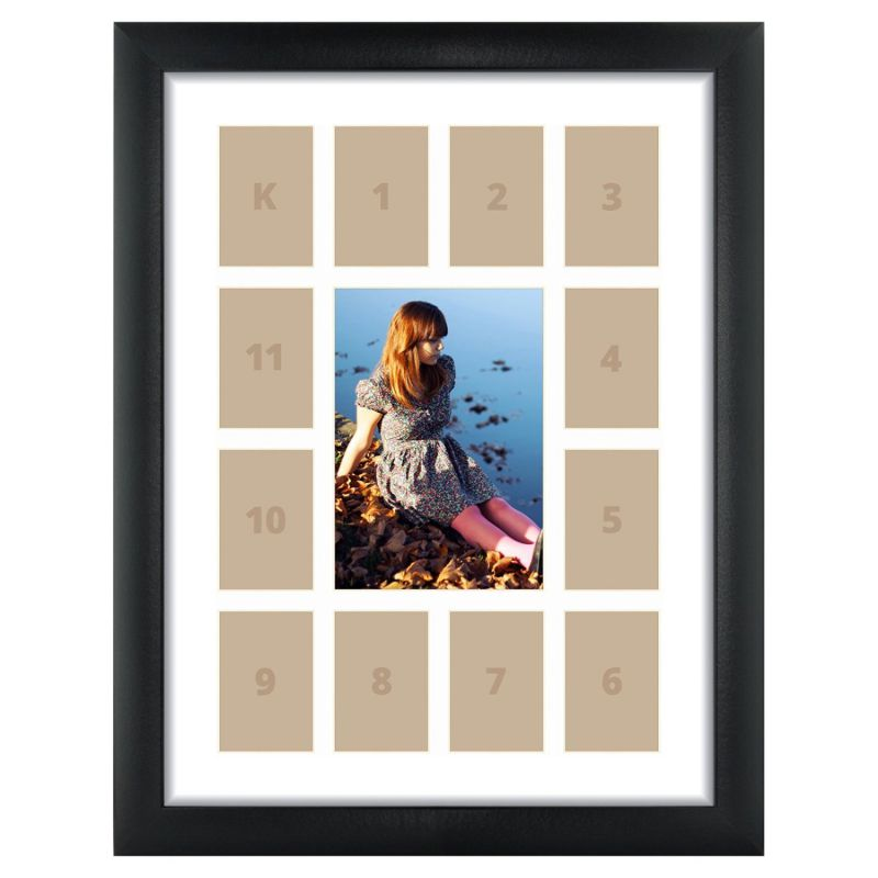 Craig Frames 1WB3BK 12 by 16-Inch Black Picture Frame, Single White Collage Mat with 13 Openings