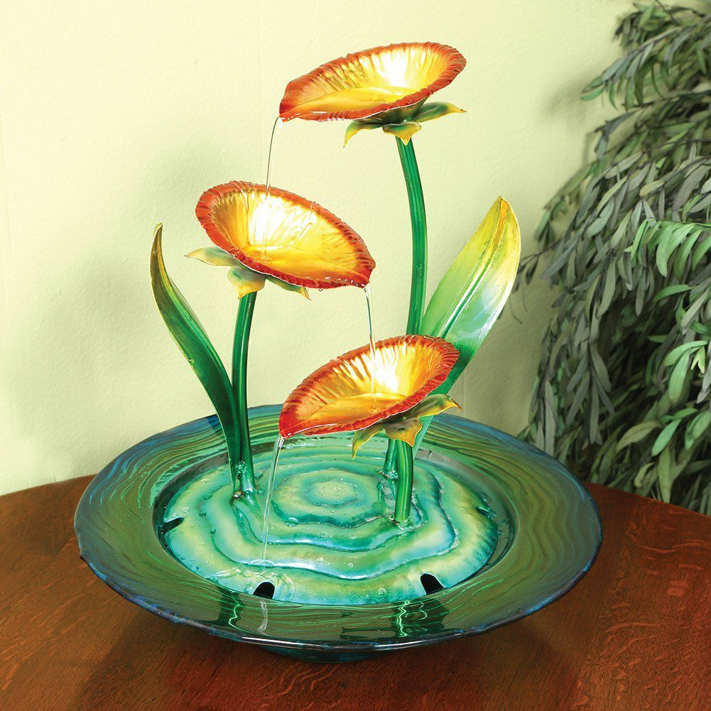 Decorative Glass And Metal Poppies Indoor Water Fountain