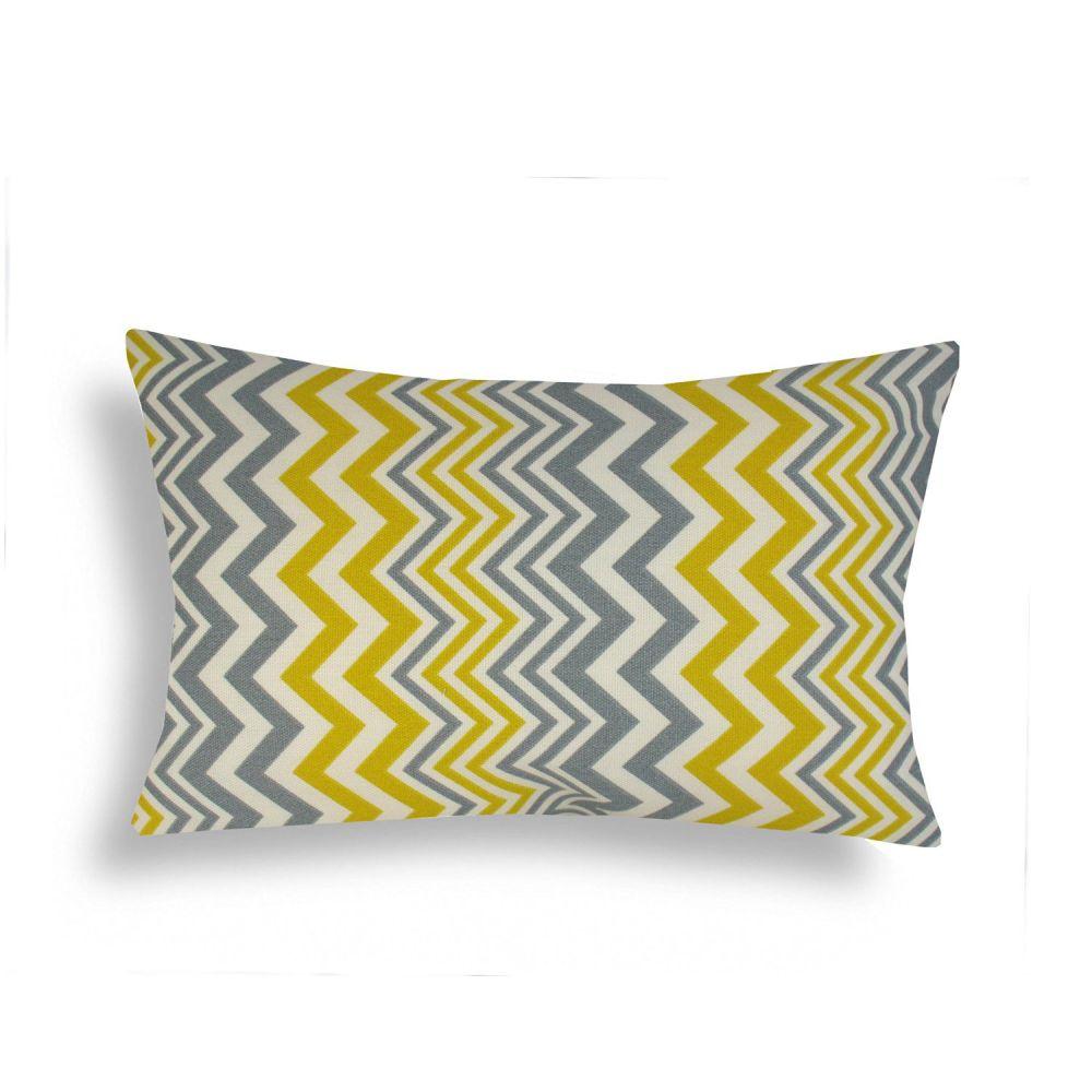 Domusworks Chevron Lumbar Pillow, Yellow/Grey