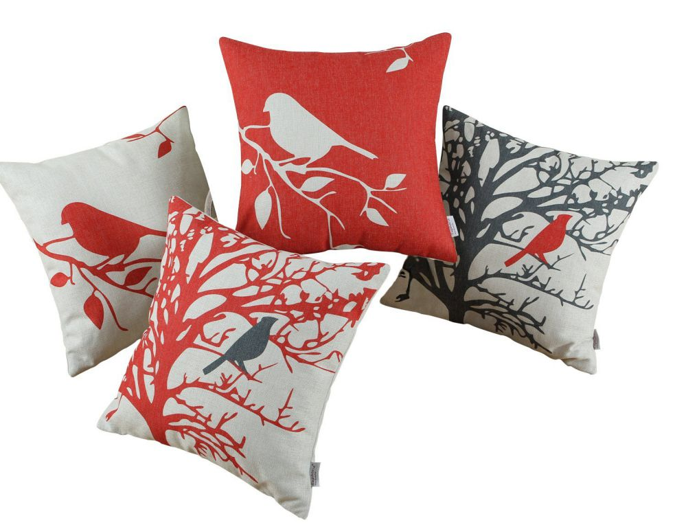 Euphoria CaliTime Throw Pillows Covers Vintage Birds Branches, 18 X 18 Inches, Black Red, Set of 4