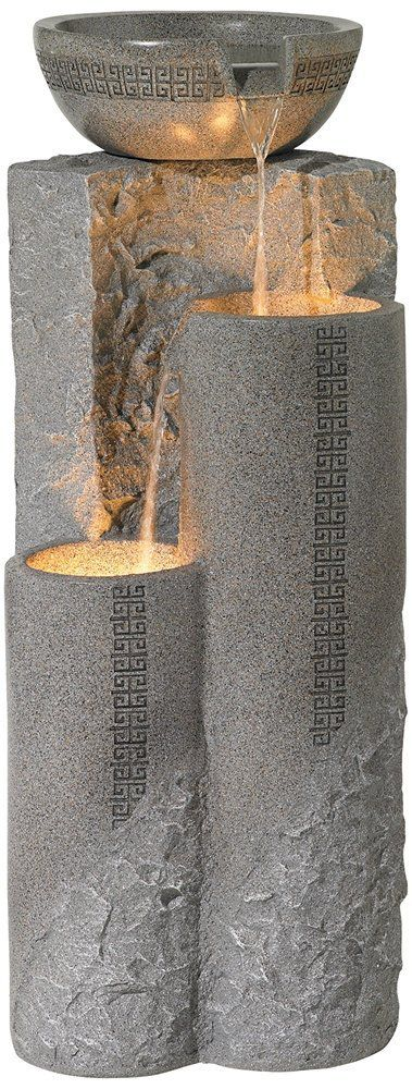 "Faux Marble Bowl & Pillar 34 1/2"" Indoor-Outdoor Fountain"