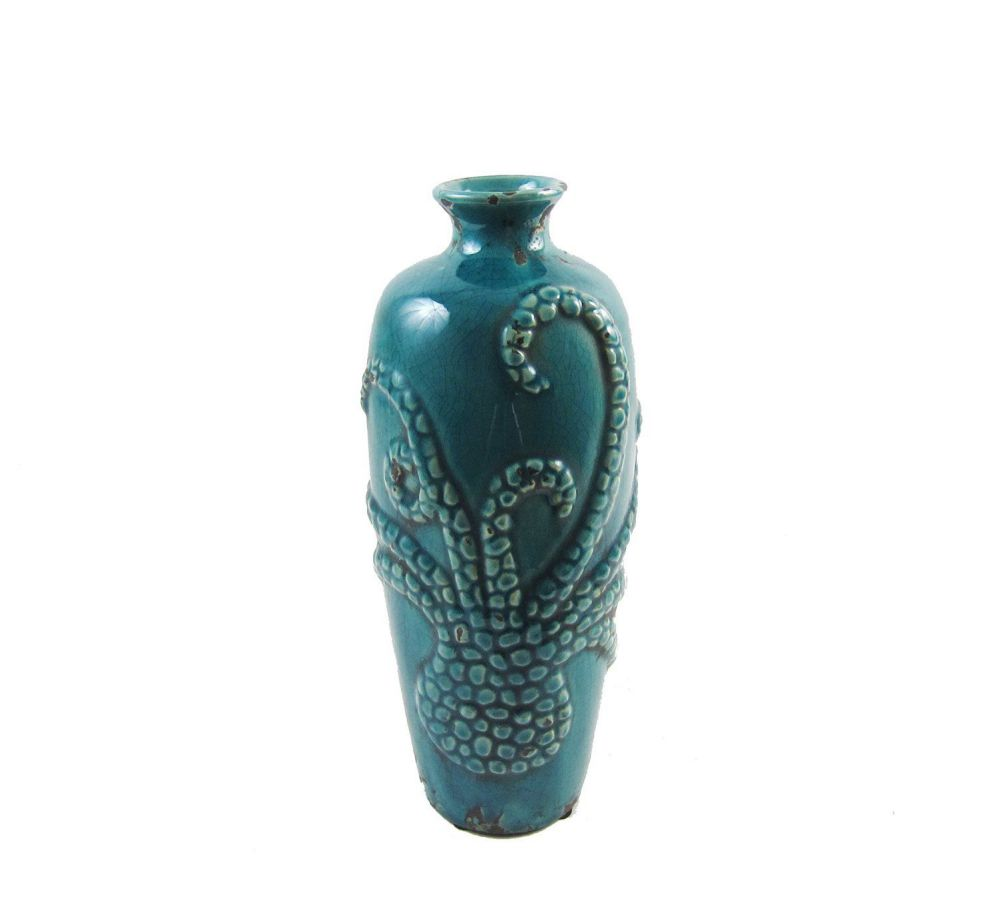 "Firefly Home Collection ""Octopus"" Ceramic Vase, Teal, 12"""
