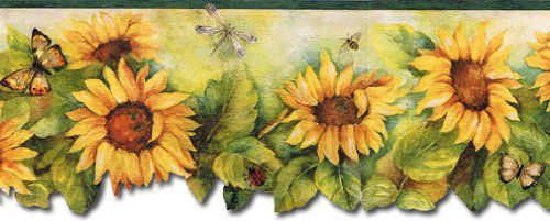 Fresh Kitchens Sunflower with Brown Butterfly Wallpaper Border