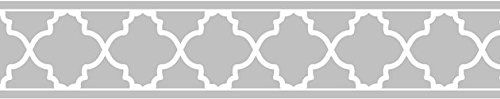 Gray and White Trellis Print Modern Lattice Wall Paper Border