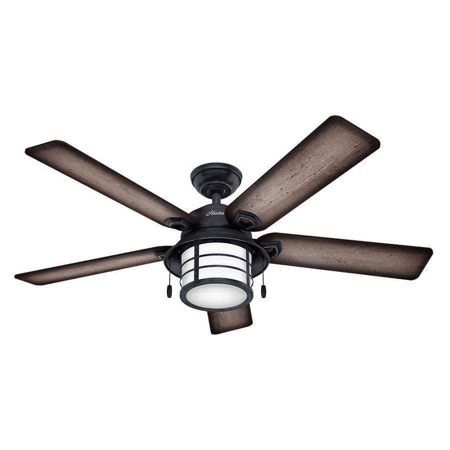 "Hunter Fan 59135 Key Biscayne 54"" Weathered Zinc Ceiling Fan with Five Burnished Gray Pine/Gray Pine Reversible Blades"