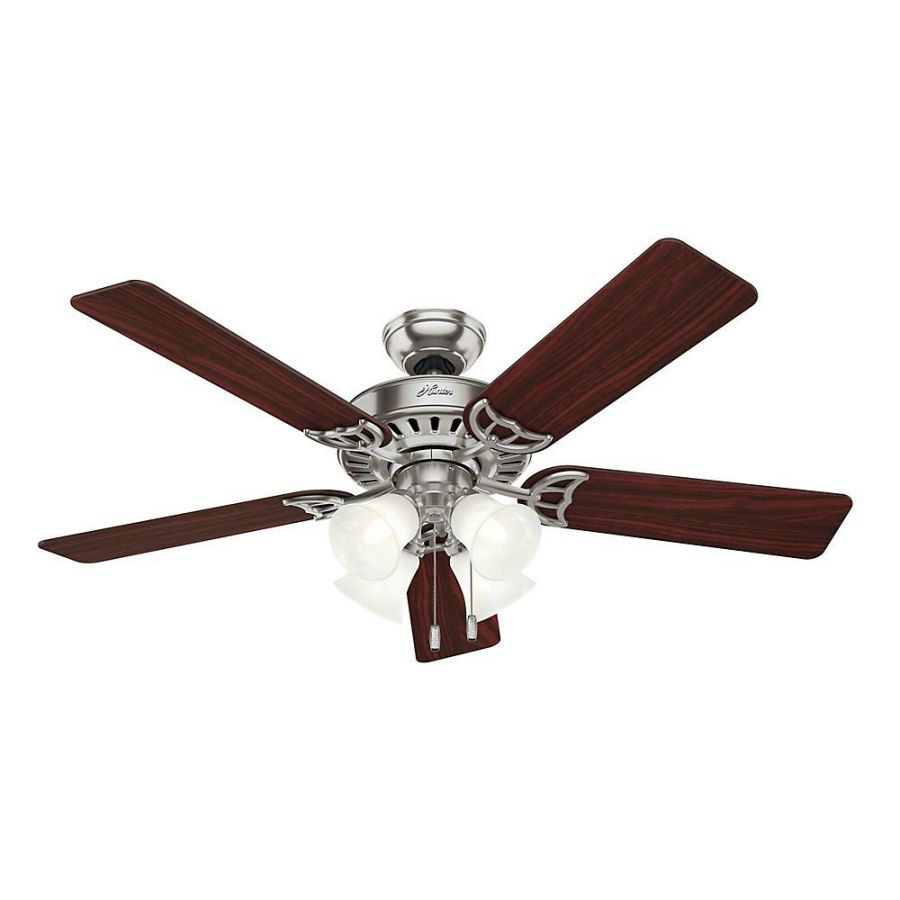Hunter Fan Company 53064 Studio Series 52-Inch Ceiling Fan with Five Cherry/Maple Blades and Light Kit, Brushed Nickel