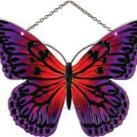 Joan Baker Designs SSE1018 Magenta/Orange Butterfly Art Glass Suncatcher, 5-1/4 by 7-Inch