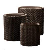 Keter Round Plastic Rattan Resin Garden Flower Plant Planters Decor Pots 3 pc, assorted sizes, Brown