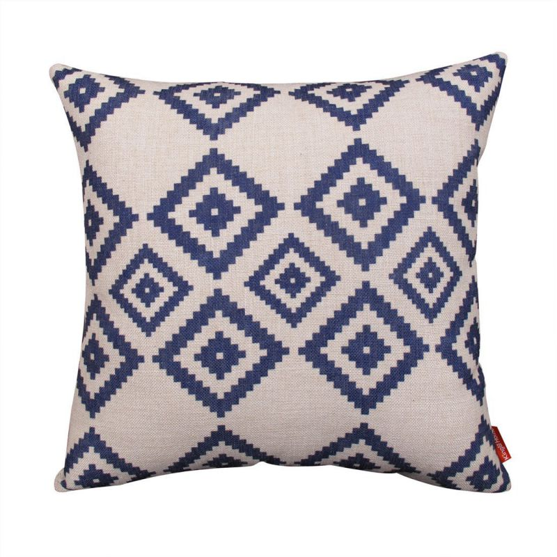 Kingla Home® Cotton Linen Square Decorative Couch Cushion Covers 18x18 Inch Pillowcases navy Blue Modern Geometry Throw Pillow Covers