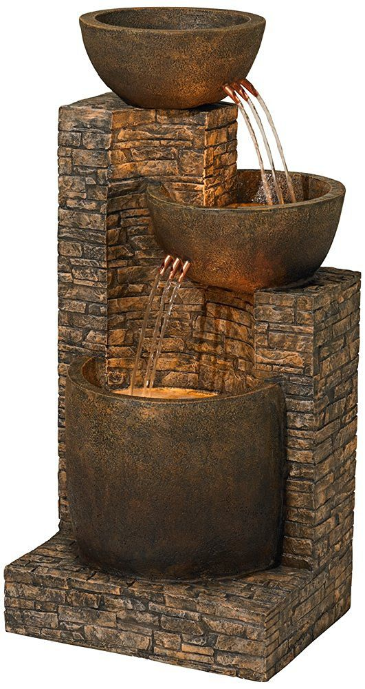 """Mason 35"""" High Faux Stone Floor Fountain"""