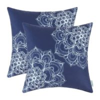 Pack of 2 Euphoria CaliTime Throw Pillow Covers 18 X 18 Inches, Vintage Dahlia Floral, Navy Blue