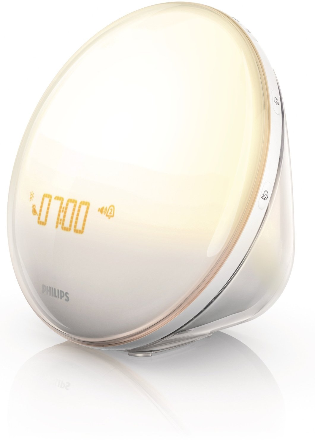 Philips Morning Wake-Up Light With Colored Sunrise Simulation and Dusk Fading Night Light, White, HF3520