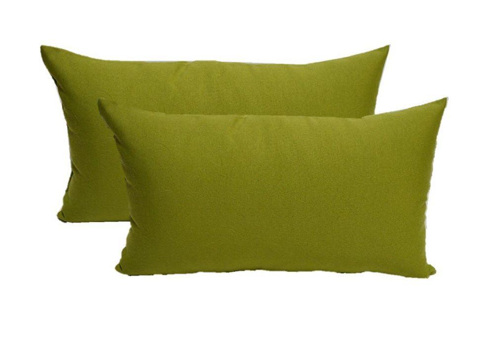 Set of 2 Indoor / Outdoor Decorative Lumbar / Rectangle Pillows - Solid Kiwi Green
