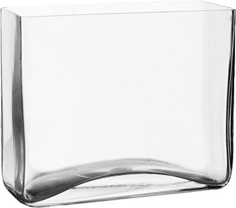 "Rectangle Vase, Clear Glass. H-8"", Open 8"" x 4"" (1 pc)"
