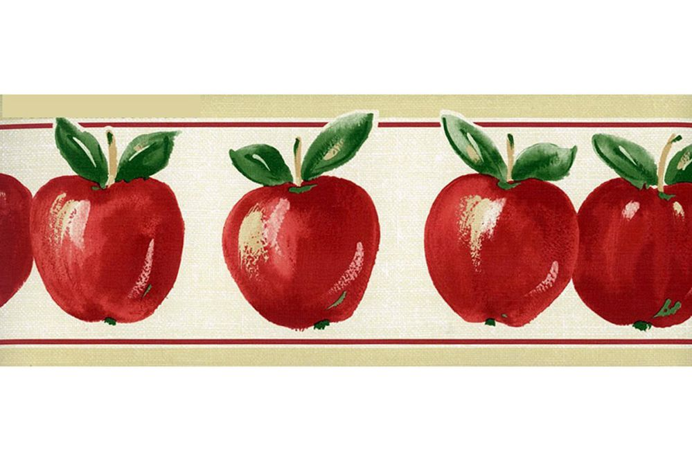 Red Apples Prepasted Wallpaper Border - Kitchen Fruits Wall Border Norwall KT77929