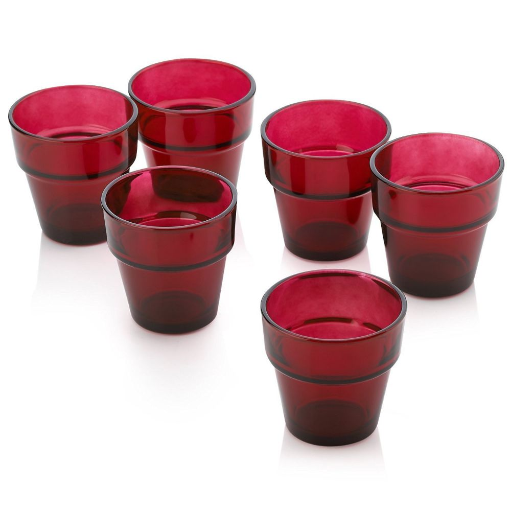 Red Glass Flower Pot Votive Candle Holders Set of 36