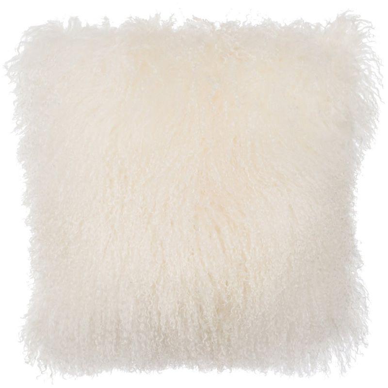 SLPR Home Collection Mongolian Lamb Fur Pillow Cover (16 x 16, Natural)