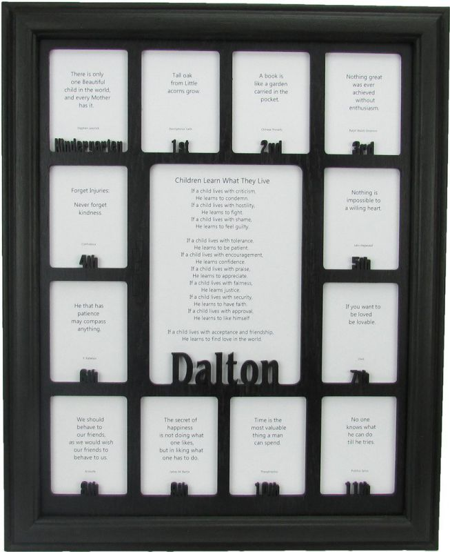 School Years Picture Frame - Personalized Picture Frame with any Name - K-12, School Frame, Custom Photo Frame, School Years Frame, Black Frame and Black Insert, School Days