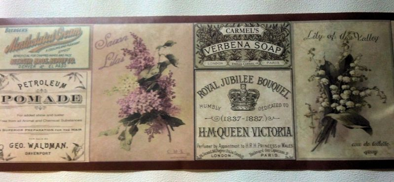 Soap Labels Bathroom Flowers Wallpaper Border - Brown 687691