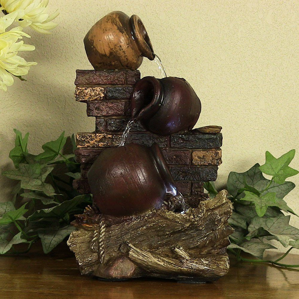 Sunnydaze Rustic Brick Wall and Jugs Tabletop Fountain with LED Lights, 10.5 Inch Tall