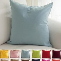 "TangDepot Cotton Solid Throw Pillow Covers, 18"" x 18"", Light Blue"
