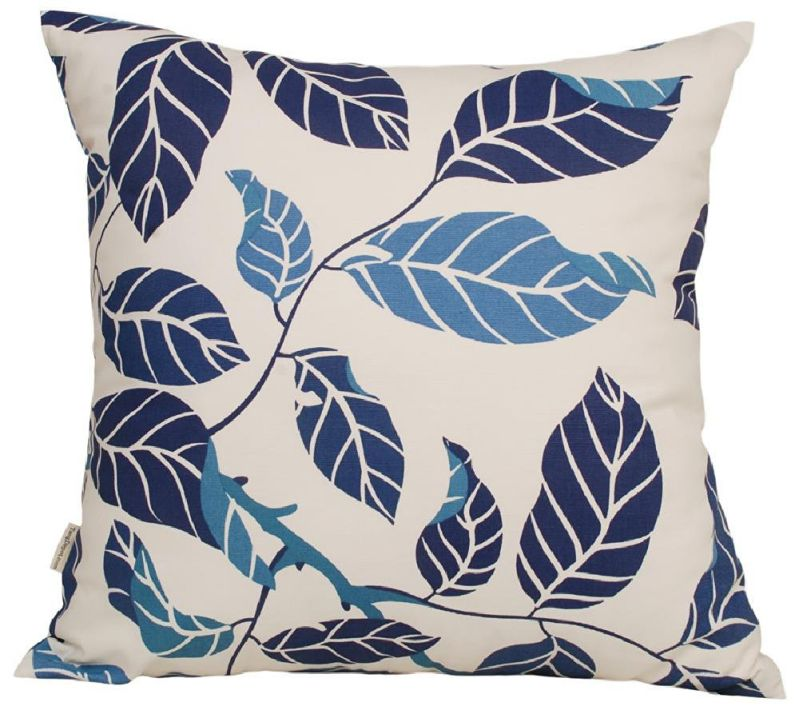 "TangDepot Decorative Handmade Floral Leaf Throw Pillow Covers /Pillow Shams, 10 Sizes option - (14""x14"", Blue Leaf)"