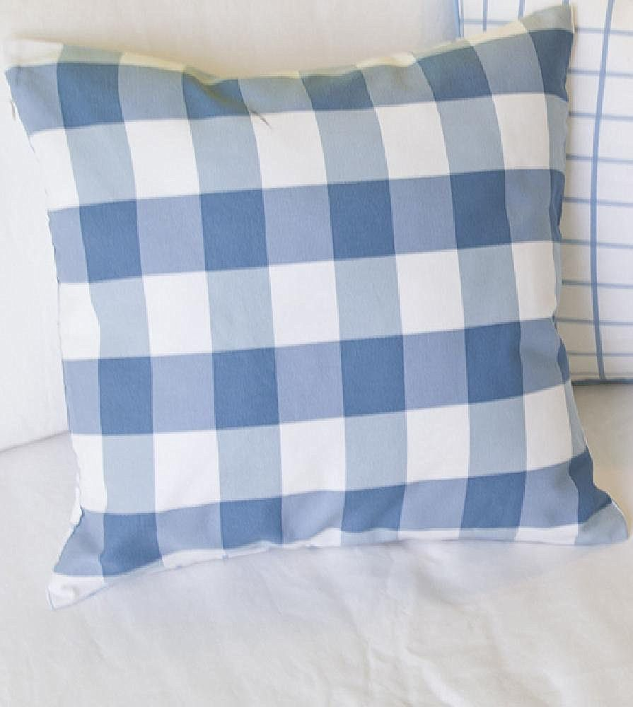 "TangDepot Decorative Handmade Plaid/Checks Cotton Throw Pillow Covers /Pillow Shams, Include 6 Colors and 4 Sizes, Big Blue Grid, Big Pink Grid, Middle Blue Grid, Middle Khaki Grid, Middle Pink Grid, Small Blue Grid, 12""x18"", 18""x18"", 22""x22"" and 26""x26"""
