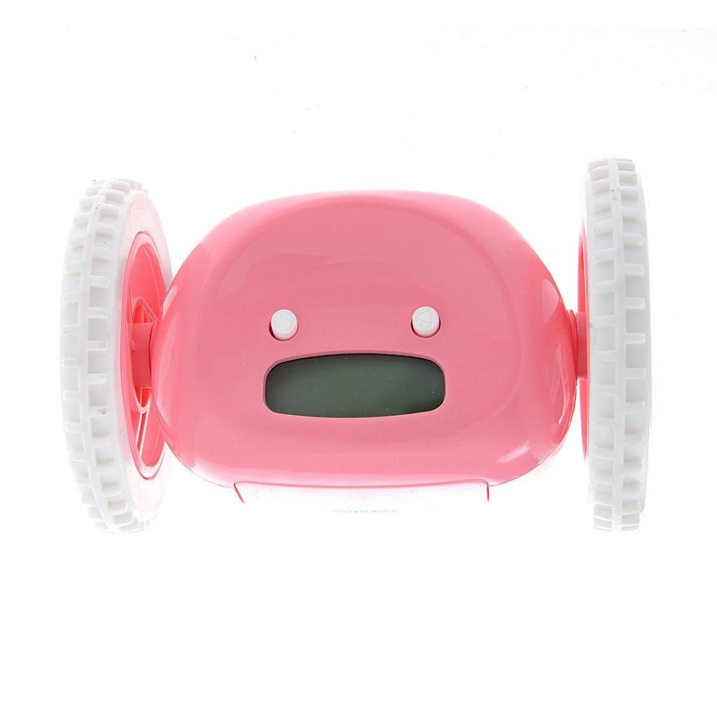 Umin Runaway Alarm Clock with Wheels, Pink
