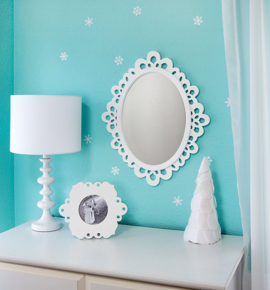 Oval Wall Mirror - Highly Decorative Wall Accessories - Use it for Bedroom and Bathroom Wall, or as a Princess Mirror for Girl's Princess Bedroom. Premium Sturdy Wood Frame Wall Mirror