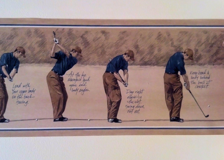 Wallpaper Border Golf Progression Swing Blue Golfer