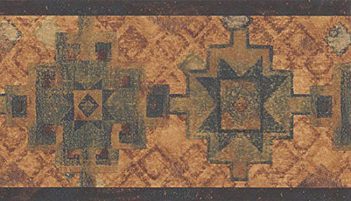 Wallpaper Border Southwest Indian Western Pattern Brown, Blue & Teal on Tan