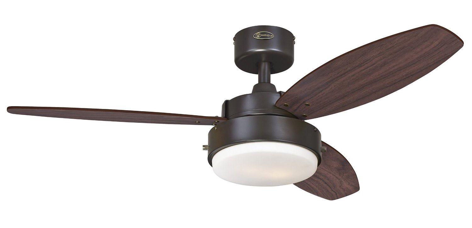 "Westinghouse 7201900 Alloy Two-Light 42"" Reversible Three-Blade Indoor Ceiling Fan, Oil Rubbed Bronze with Opal Frosted Glass"