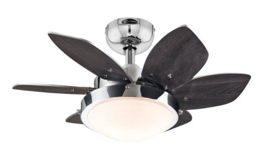 Westinghouse 7863100 Quince Two-Light 24-Inch Reversible Six-Blade Indoor Ceiling Fan, Chrome with Opal Frosted Glass