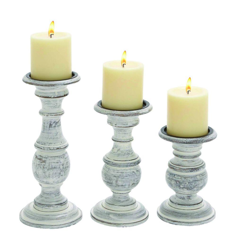 Woodland Imports Short and Sweet Wooden Candle Holder, White Paint Finish, Set of 3