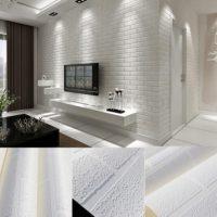 YIYATOO White Real Looking Deep Embossed Textured 3d Brick Pattern Wallpaper Roll