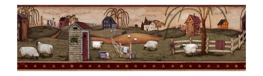 York Wallcoverings Best Of Country CN1159BD Country Bath Border, Almond Sky/Burgundy Band