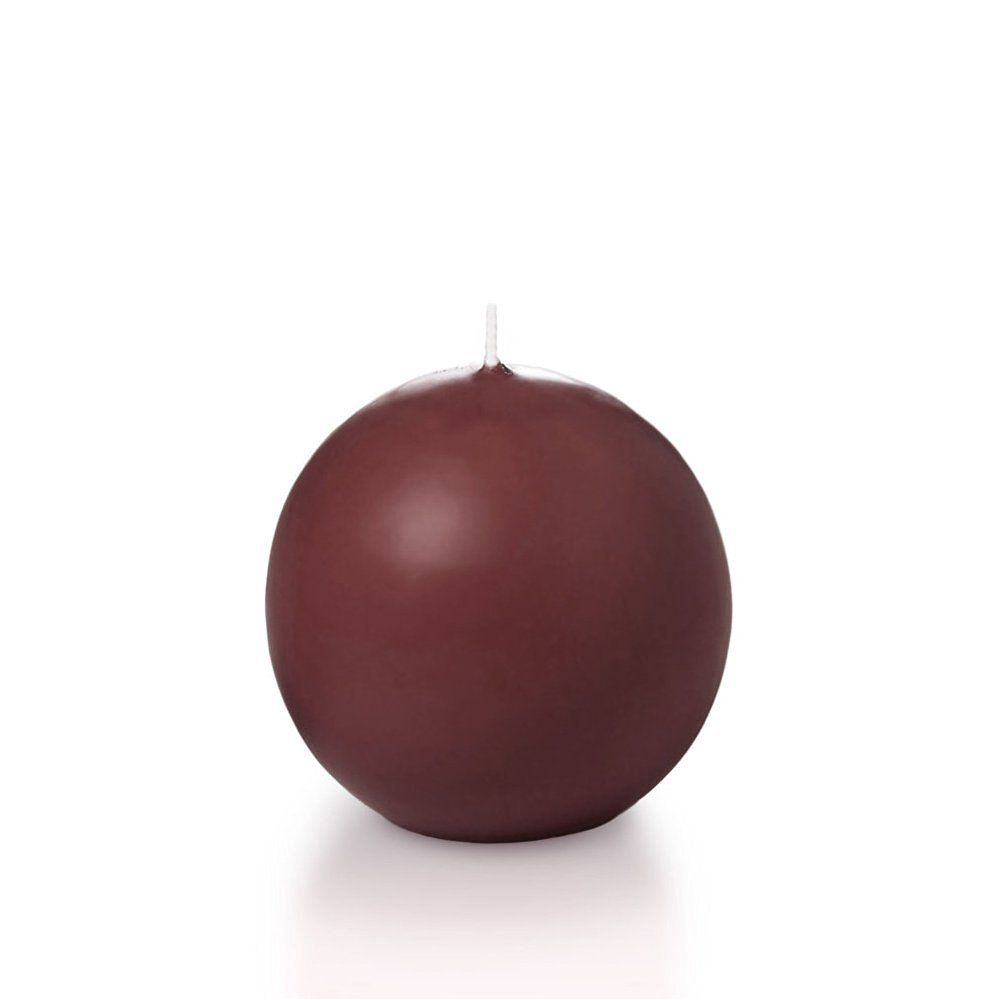 """Yummi 2.8"""" Burgundy Sphere / Ball Candles - 3 per pack"""